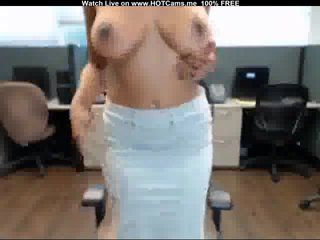 Busty MILF Strip & Masturbate In The Office
